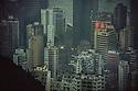 Utsyn, utsikt utover Hong Kong skyskrapere, Kina