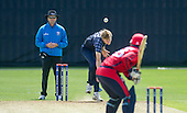 ICC World T20 Qualifier (Warm up match) - Scotland V Jersey at Heriots CC, Edinburgh - Scotland bowler Gavin Main sends down a delivery — credit @ICC/Donald MacLeod - 06.7.15 - 07702 319 738 -clanmacleod@btinternet.com - www.donald-macleod.com