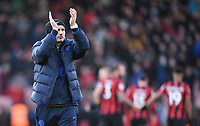 29th February 2020; Vitality Stadium, Bournemouth, Dorset, England; English Premier League Football, Bournemouth Athletic versus Chelsea; Frank Lampard Manager for Chelsea applauds the travelling fans