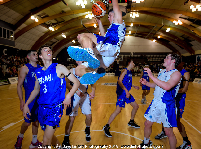 St Kentigern's Shalom Broughton slamdunks during the 2019 Schick AA Boys' Secondary Schools Basketball National Championship final between St Kentigern and Rosmini College at the Central Energy Trust Arena in Palmerston North, New Zealand on Saturday, 5 October 2019. Photo: Dave Lintott / lintottphoto.co.nz