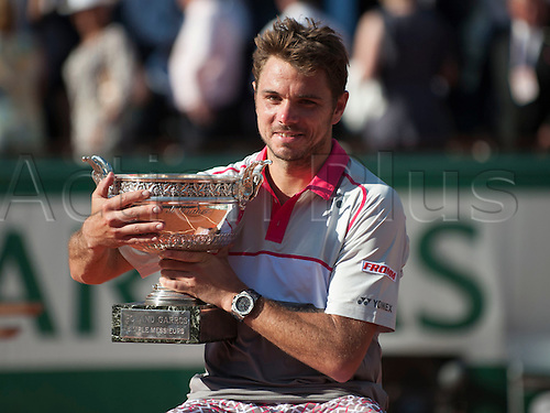 07.06.2015. Roland Garros, Paris, France. <br />  Stan Wawrinka of Switzerland  poses with the trophy after defeating Novak Djokovic of Serbia in the men's singles final at the French Open, Stade Roland Garros, Paris, France