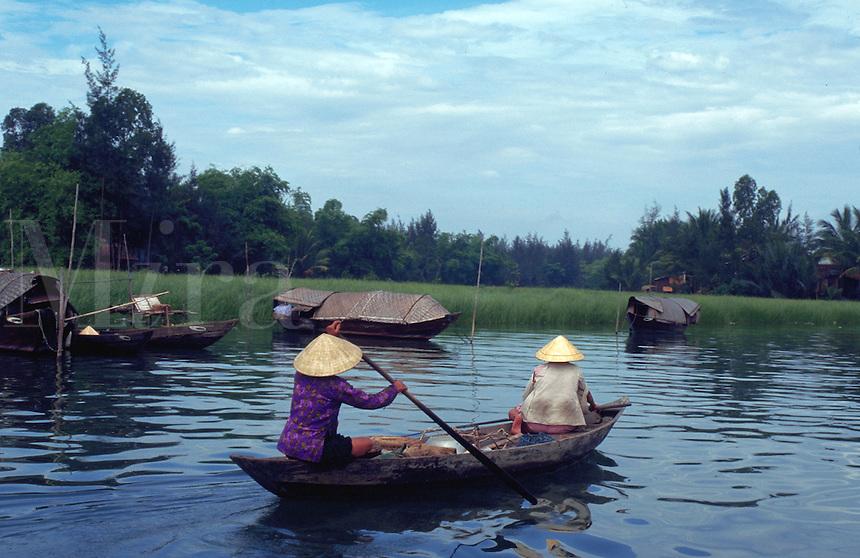 House boat on ThuBon River  Hoian Vietnam