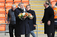 (l-r) Glyn James, Terry Alcock, Alan Ainscow and Pete Nicholson pay tribute to the late Fred Pickering<br /> <br /> Photographer Kevin Barnes/CameraSport<br /> <br /> The EFL Sky Bet League One - Blackpool v Oxford United - Saturday 23rd February 2019 - Bloomfield Road - Blackpool<br /> <br /> World Copyright © 2019 CameraSport. All rights reserved. 43 Linden Ave. Countesthorpe. Leicester. England. LE8 5PG - Tel: +44 (0) 116 277 4147 - admin@camerasport.com - www.camerasport.com