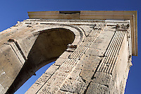 Bera?s Arch, Triumphal arch monument, Tarragona (Tarraco, Hispania Citerior), Catalonia, Spain; An inscription explains that it was built in memory of the funeral Luci Lucini Sura in the I Century AD but recent researches say that it is from the I Century BC, when the Via Augusta was reformed; Corinth fluted pilasters hold the entablature on each side of the arcade.