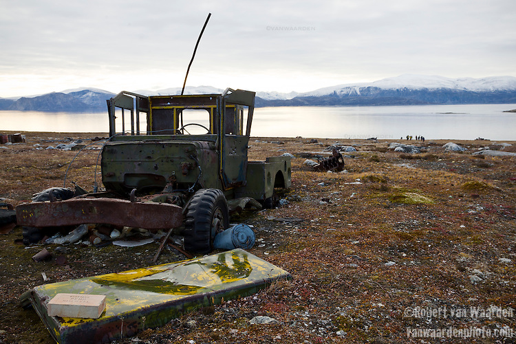An old United States army vehicle rusts into the Canadian Tundra in Nunavut, Canada.
