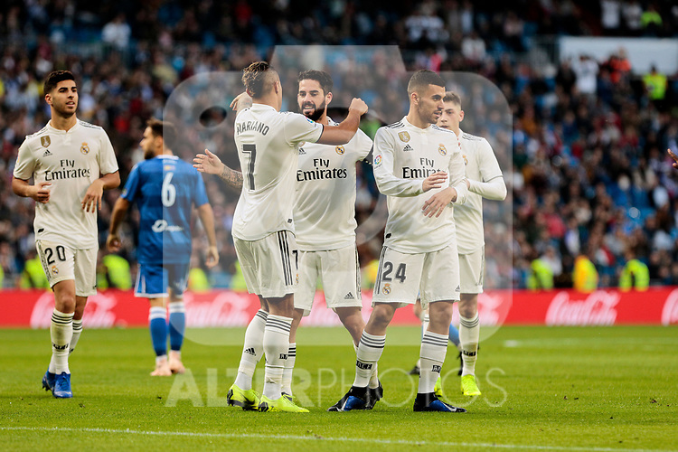 Real Madrid's players celebrate goal during Copa del Rey match between Real Madrid and UD Melilla at Santiago Bernabeu Stadium in Madrid, Spain. December 06, 2018. (ALTERPHOTOS/A. Perez Meca)