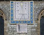 Sundial on church of Saint Nicholas, Radstock, Somerset, England, UK