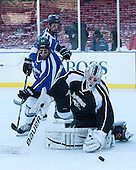 Brooks Behling (PC - 17), Stefan Demopoulos (PC - 12), Nick Ellis (PC - 35) -  - The participating teams in Hockey East's first doubleheader during Frozen Fenway practiced on January 3, 2014 at Fenway Park in Boston, Massachusetts.