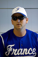 23 August 2007: Coach Joshua Ridgway talks to Team France prior to  the France 8-4 victory over Czech Republic in the Good Luck Beijing International baseball tournament (olympic test event) at the Wukesong Baseball Field in Beijing, China.