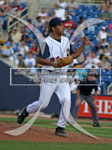 August 17, 2003:  Pitcher Ignacio Montano of the Lake County Captains during a game at Classic Park in Eastlake, Ohio.  Photo by:  Mike Janes/Four Seam Images