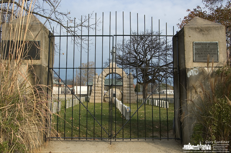 Gate to Camp Chase Cemetery in Columbus, Ohio. The Hilltop community association adopted maintenance of the Civil War cemetery and offers an annual memorial service honoring the more than 2,200 soldiers for the Confederacy and other Southern sympathizers buried in the small plot of land on the city's southeast side.<br />
