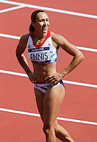 03 AUG 2012 - LONDON, GBR - Jessica Ennis (GBR) of Great Britain checks her time on a monitor after her 100m hurdles heat in the women's heptathlon during the London 2012 Olympic Games athletics at the Olympic Stadium in the Olympic Park in Stratford, London, Great Britain (PHOTO (C) 2012 NIGEL FARROW)