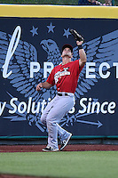 Frisco Rough Riders outfielder Jake Smolinski (3) tracks down a fly ball during a game against the Springfield Cardinals on June 1, 2014 at Hammons Field in Springfield, Missouri.  Springfield defeated Frisco 3-2.  (Mike Janes/Four Seam Images)