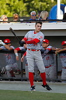 Greeneville Reds outfielder Mike Siani (34) on deck before a game against the Burlington Royals at the Burlington Athletic Complex on July 7, 2018 in Burlington, North Carolina. It was the first professional game for Siani. Burlington defeated Greeneville 2-1. (Robert Gurganus/Four Seam Images)