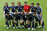30 June 2006: Argentina starting eleven.  Front row (l to r): Luis Gonzalez (ARG), Maxi Rodriguez (ARG), Hernan Crespo (ARG), Carlos Tevez (ARG), Javier Mascherano (ARG).  Back row (l to r): Juan Sorin (ARG), Gabriel Heinze (ARG), Fabricio Coloccini (ARG), Roberto Abbondanzieri (ARG), Juan Riquelme (ARG), Roberto Ayala (ARG)... Germany tied Argentina 1-1 at the Olympiastadion in Berlin, Germany in match 57, a Quarterfinal game in the 2006 FIFA World Cup. Germany advanced on Penalty Kicks, 4-2.