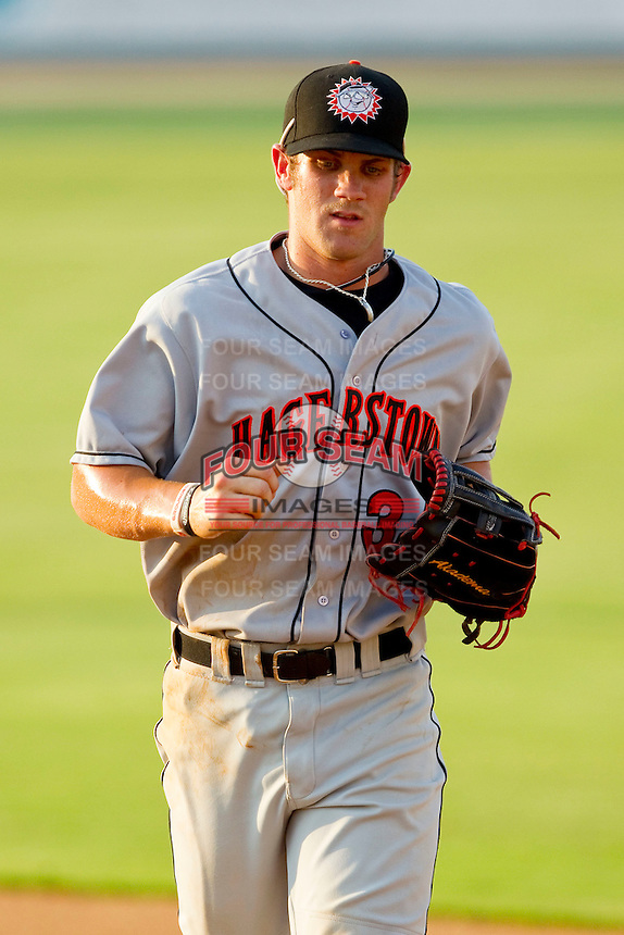 Center fielder Bryce Harper #34 of the Hagerstown Suns jogs off the field between innings against the Kannapolis Intimidators at Fieldcrest Cannon Stadium on May 31, 2011 in Kannapolis, North Carolina.   Photo by Brian Westerholt / Four Seam Images