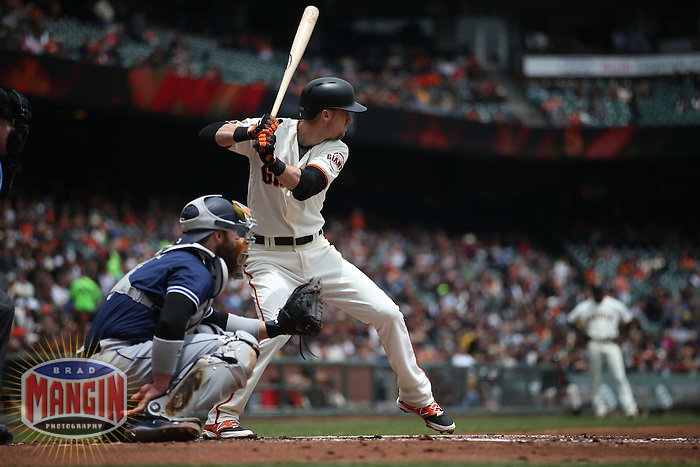 SAN FRANCISCO, CA - MAY 25:  Matt Duffy #5 of the San Francisco Giants bats against the San Diego Padres during the game at AT&T Park on Wednesday, May 25, 2016 in San Francisco, California. Photo by Brad Mangin