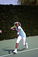 Iman Garshong during a training session with Dan Bloxham, Head Coach, at Wimbledon, The All England Lawn Tennis Club (AELTC), London...