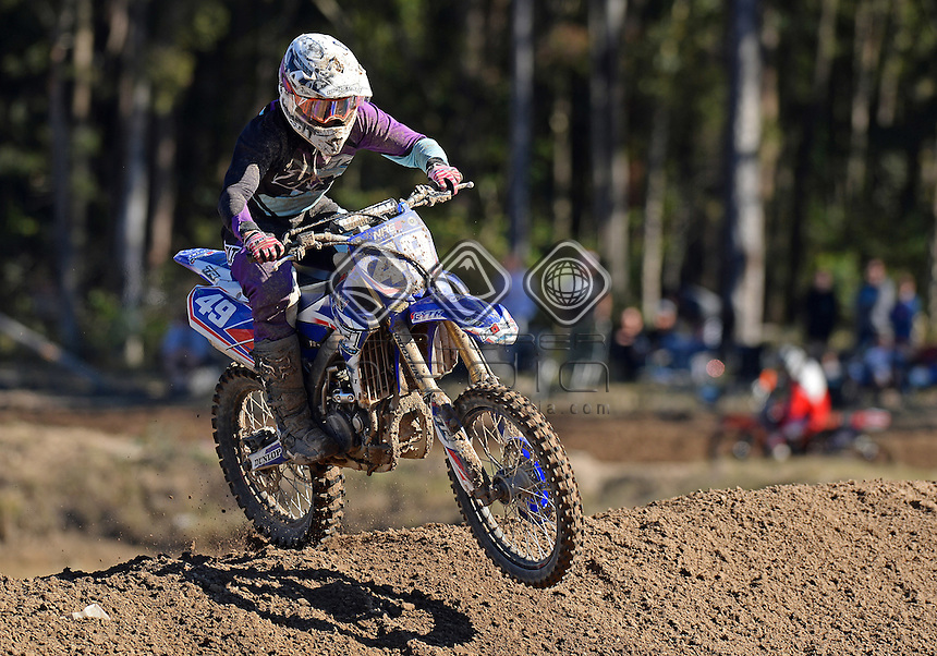 Brodie Ravenhorst / Yamaha<br /> MX Nationals / Round 6 / MXD<br /> Australian Motocross Championships<br /> Raymond Terrace NSW<br /> Sunday 5 July 2015<br /> &copy; Sport the library / Jeff Crow