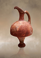 Hittite terra cotta red glazed beak spout pitcher . Hittite Period, 1600 - 1200 BC.  Hattusa Boğazkale. Çorum Archaeological Museum, Corum, Turkey. Against a warm art bacground.