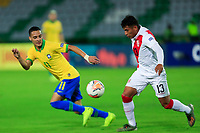 ARMENIA, COLOMBIA - JANUARY 19: Peru's Dylan Caro fights for the ball against Brazil's Antony during their CONMEBOL Pre-Olympic soccer game at Centenario Stadium on January 19, 2020 in Armenia, Colombia. (Photo by Daniel Munoz/VIEW press/Getty Images)