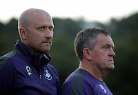 Pictured L-R: Cameron Toshack and Gary Richards Monday 15 August 2016<br /> Re: Swansea City FC U23 v West Bromwich Albion at Landore training ground, Swansea, Wales, UK