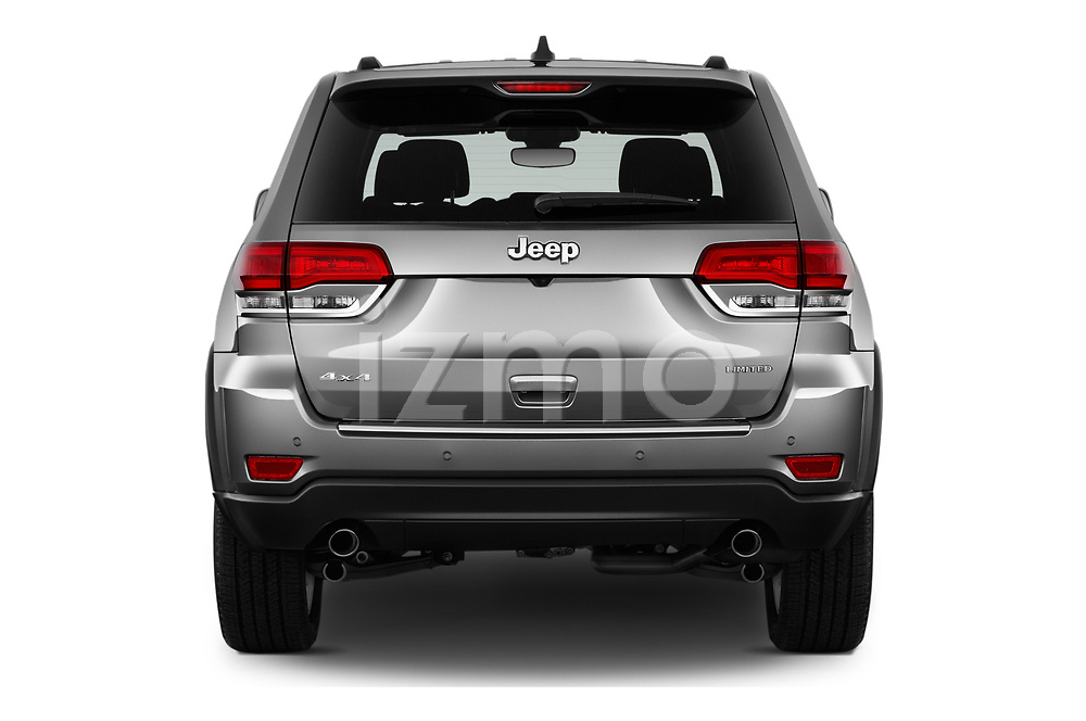 Straight rear view of a 2018 Jeep Grand-Cherokee Limited 5 Door SUV stock images