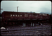 Side view of gondola AX #822 at Durango?<br /> D&amp;RGW  Durango, CO