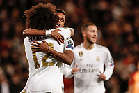 6th November 2019; Estadio Santiago Bernabeu, Madrid, Spain; UEFA Champions League Football, Real Madrid versus Galatasaray; Rodrygo (Real Madrid)  celebrates his headed goal with Marcelo which made it 2-0 in the 7th minute - Editorial Use