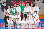 Medal winners at the White Lightening Karate tournament held in the Killarney Martial Arts Academy on Saturday  pictured with Padraig O'Sullivan Darcy and Sensei Niall Wright..... NO FEE PR SHOT..........................