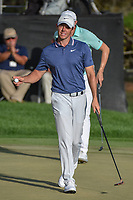 Rory McIlroy (NIR) after sinking his putt on 18 during round 4 of the Arnold Palmer Invitational at Bay Hill Golf Club, Bay Hill, Florida. 3/10/2019.<br /> Picture: Golffile | Ken Murray<br /> <br /> <br /> All photo usage must carry mandatory copyright credit (© Golffile | Ken Murray)