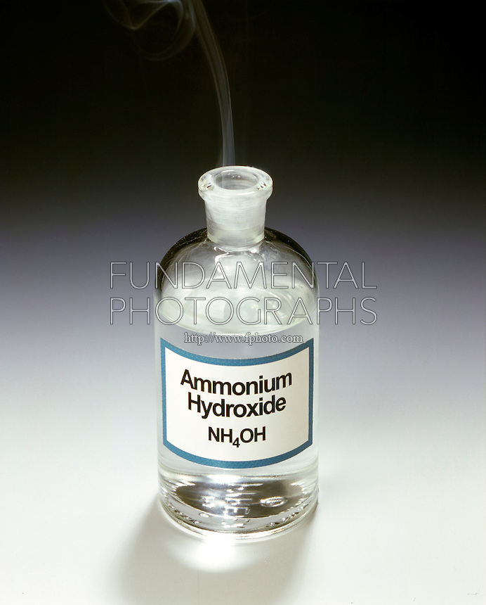 AMMONIUM CHLORIDE FOG FORMATION<br /> Open Bottle of Ammonium Hydroxide (NH3OH)<br /> The stopper of a reagent bottle  of Ammonium Hydroxide ( NH3OH) is removed. The reaction between gaseous Ammonia (NH3) escaping from the aqueous solution &amp; Chlorine ions in the vicinity  forms a white fog of solid NH4Cl. Bronsted-Lowry acids and bases