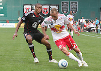Jordan Graye #16 of D.C. United tracks Joel Lindpere #20 of the New York Red Bulls during an MLS match on May 1 2010, at RFK Stadium in Washington D.C.