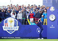 Rory McIlroy (Team Europe) on the 10th tee during the friday foursomes at the Ryder Cup, Le Golf National, Ile-de-France, France. 28/09/2018.<br /> Picture Fran Caffrey / Golffile.ie<br /> <br /> All photo usage must carry mandatory copyright credit (&copy; Golffile | Fran Caffrey)
