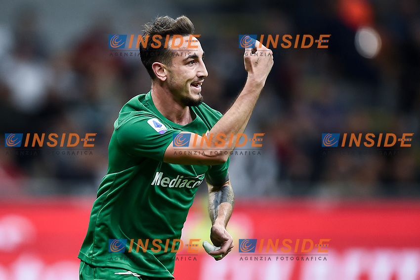 Gaetano Castrovilli of Fiorentina celebrates after scoring the goal of 0-2 for his side<br /> Milano 29/09/2019 Stadio Giuseppe Meazza <br /> Football Serie A 2019/2020 <br /> AC Milan - ACF Fiorentina   <br /> Photo Image Sport / Insidefoto