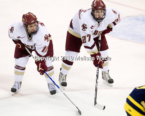 Joe Whitney (BC - 15), Patrick Alber (BC - 27) - The Boston College Eagles defeated the Merrimack College Warriors 7-0 on Tuesday, February 23, 2010 at Conte Forum in Chestnut Hill, Massachusetts.