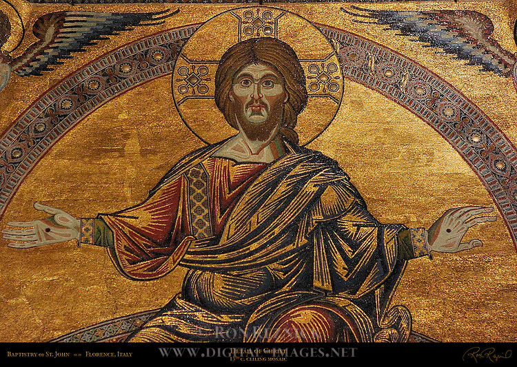 13th c Ceiling Mosaics detail of Christ Last Judgement section Baptistry of San Giovanni Florence
