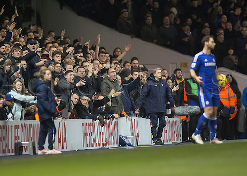 01.01.2015.  London, England. Barclays Premier League. Tottenham versus Chelsea. Tottenham fans are unhappy after some referee decision which they disagree with.