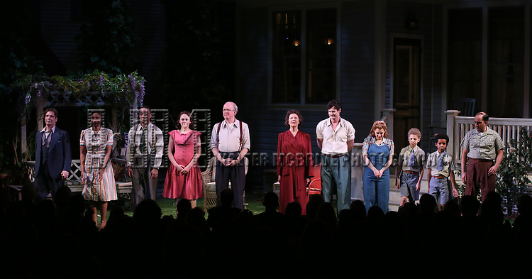 """Michael Hayden, Chinasa Ogbuagu, Hampton Fluker, Francesca Carpanini, Tracy Letts, Annette Bening, Benjamin Walker, Jenni Barber, Monte Green, Alexander Bello and Nehal Joshi during the Broadway Opening Night Curtain Call for """"All My Sons"""" at The American Airlines Theatre on April 22, 2019  in New York City."""