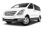 Stock pictures of low aggressive front three quarter view of a 2015 Hyundai H-1 People Executive 5 Door Passenger Van Low Aggressive