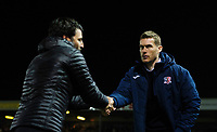 Lincoln City manager Danny Cowley, left, and Exeter City manager Matt Taylor shake hands prior to kick off<br /> <br /> Photographer Chris Vaughan/CameraSport<br /> <br /> The EFL Sky Bet League Two - Lincoln City v Exeter City - Tuesday 26th February 2019 - Sincil Bank - Lincoln<br /> <br /> World Copyright © 2019 CameraSport. All rights reserved. 43 Linden Ave. Countesthorpe. Leicester. England. LE8 5PG - Tel: +44 (0) 116 277 4147 - admin@camerasport.com - www.camerasport.com