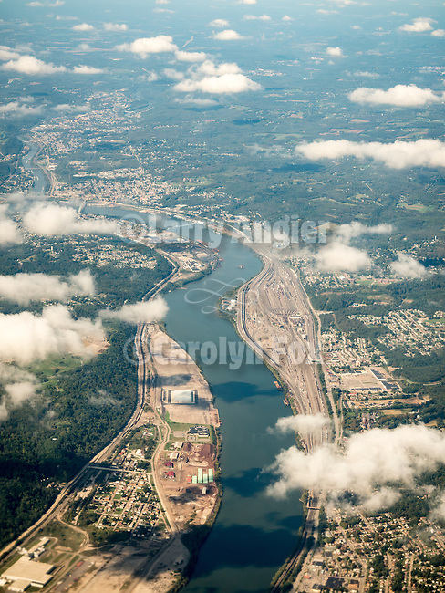 The Ohio River west of Pittsburgh, Pennsylvania, from a window seat above.