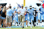 17 September 2016: UNC head coach Larry Fedora leads his team onto the field. The University of North Carolina Tar Heels hosted the James Madison University Dukes at Kenan Memorial Stadium in Chapel Hill, North Carolina in a 2016 NCAA Division I College Football game.