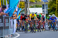 Jensen Plowright (left) passes Aaron Gate (yellow jersey) to win stage three. Stage Three - Te ara roa (Te Awamutu circuit). 2019 Grassroots Trust NZ Cycle Classic UCI 2.2 Tour from Te Awamutu in Cambridge, New Zealand on Friday, 25 January 2019. Photo: Dave Lintott / lintottphoto.co.nz