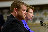 Ryan D. McCarthy, left, testifies on his nomination to be Secretary of the Army before the United States Senate Committee on Armed Services on Capitol Hill in Washington, DC on Thursday, September 12, 2019. Barbara M. Barrett who is also giving testimony on her nomination to be Secretary of the Air Force is at right.<br /> Credit: Ron Sachs / CNP