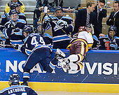 Ryan Hegarty (Maine - 44), Keegan Flaherty (Duluth - 14) - The University of Minnesota Duluth Bulldogs defeated the University of Maine Black Bears 5-2 in their NCAA Northeast semifinal on Saturday, March 24, 2012, at the DCU Center in Worcester, Massachusetts.