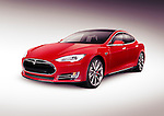Red 2014 Tesla Model S luxury electric car isolated on gray background with clipping path
