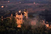 Europe/France/Aquitaine/24/Dordogne/Vallée de la Dordogne/Périgord Noir/Vitrac: Château de Montfort  à l'aube -Vue aérienne