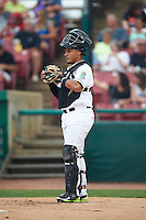 Kane County Cougars catcher Elvin Soto (10) during a game against the Great Lakes Loons on August 13, 2015 at Fifth Third Bank Ballpark in Geneva, Illinois.  Great Lakes defeated Kane County 7-3.  (Mike Janes/Four Seam Images)