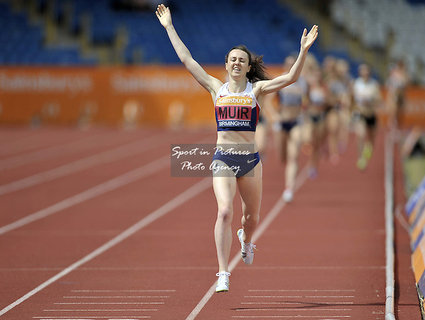 Laura Muir wins. Womens 1500m. British Athletics Championships. Alexander Stadium, Perry Barr, Birmingham, England, UK. 05/07/2015. MANDATORY Credit Garry Bowden/SIPPA - NO UNAUTHORISED USE - 07837 394578